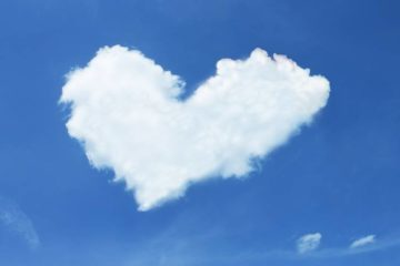 Heart-shaped cloud in blue sky - Poetry by Woven Green