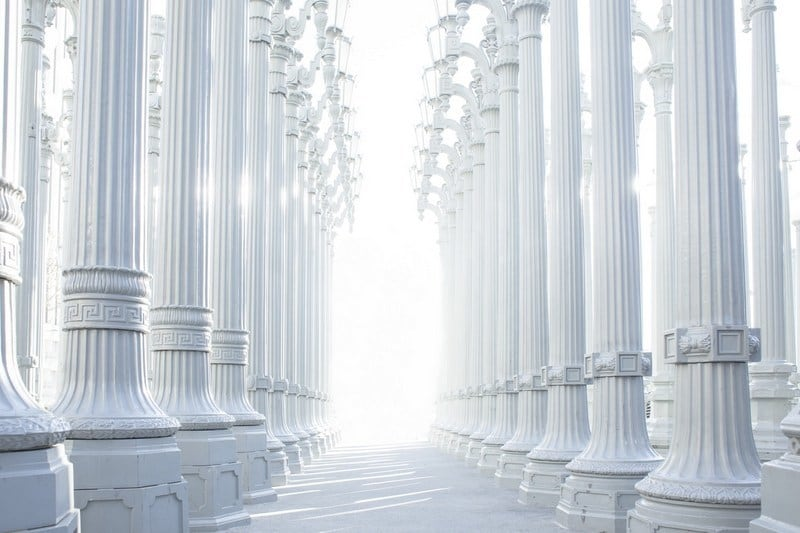 White columns with bright light