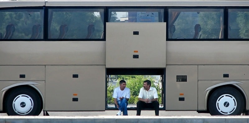 bus drivers taking a break