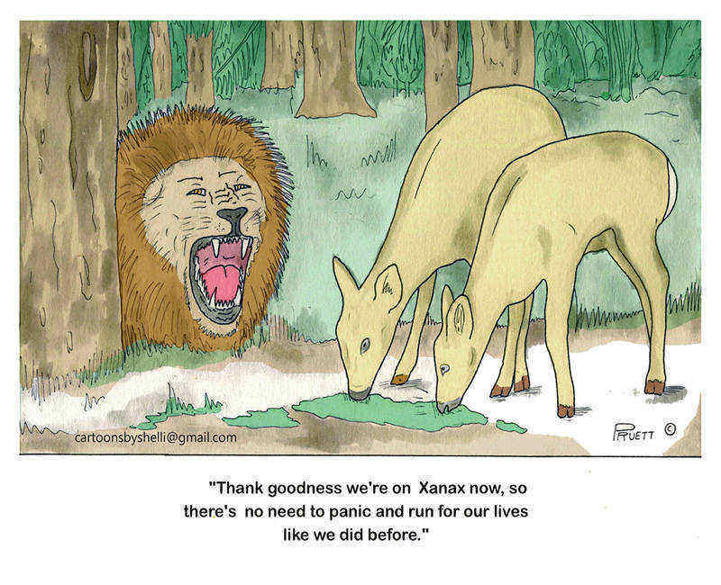 Cartoon of deer on Xanax being approached by roaring lion - Deer on Xanax
