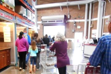 Customers in line at Costco - My Costco Sunday morning touchdown
