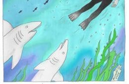 Smaller version of sharks cartoon - Don't eat the humans!