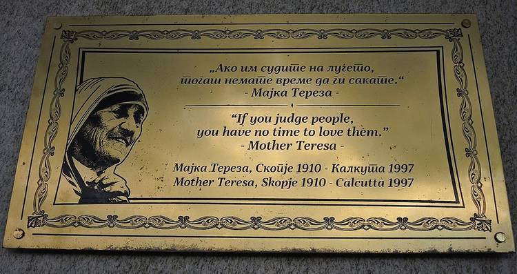 Plaque honouring Mother Teresa - The greatest lesson