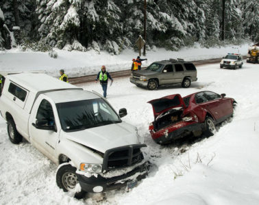Car accident on a snowy road - The bravest you