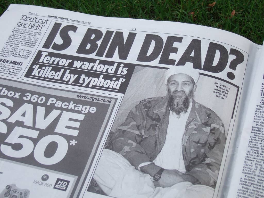News paper headline is Osama Bin Laden dead
