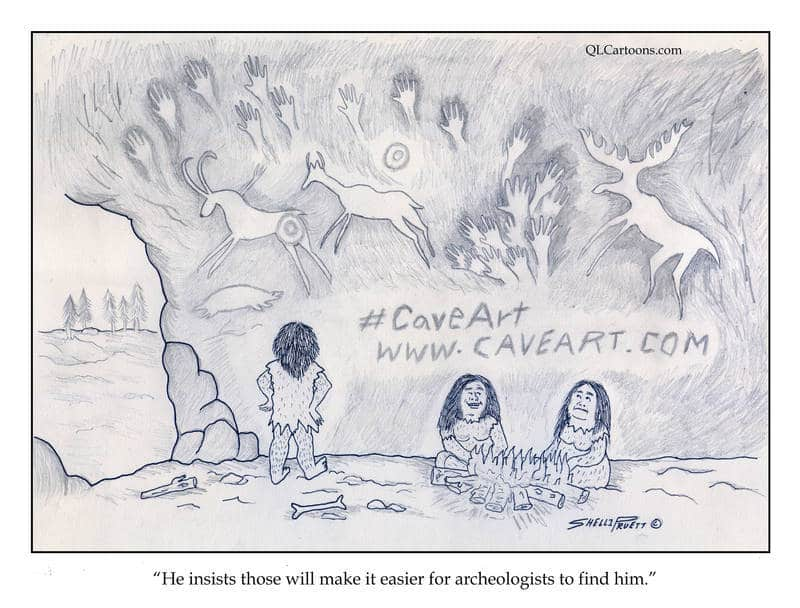 Caveman posting hashtag and website on cave wall - Hashtag #CaveArt