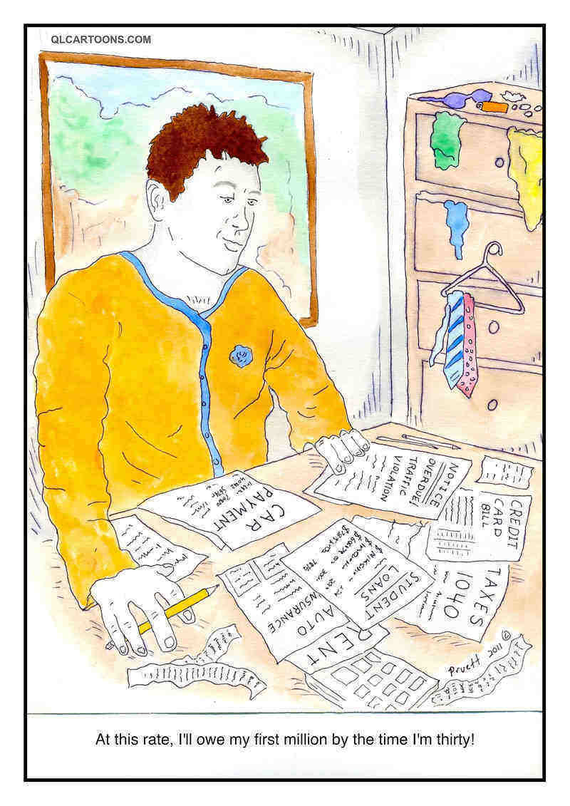 Cartoon of young man staring at a bunch of bills on table - A million dollars in debt by 30