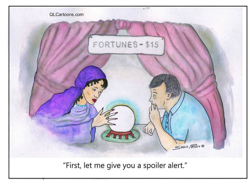 Female fortune teller reading male client's fortune - Spoiler alert!