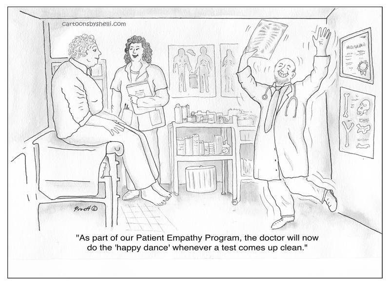 A patient's clean test result causes the doctor to do a happy dance - Patient Empathy Program