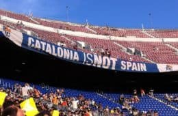 Stadium with banner saying Catalonia is not Spain