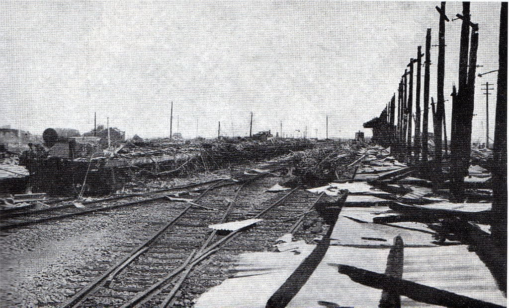 flattened Rygoyuko station after great Kanto Earthquake