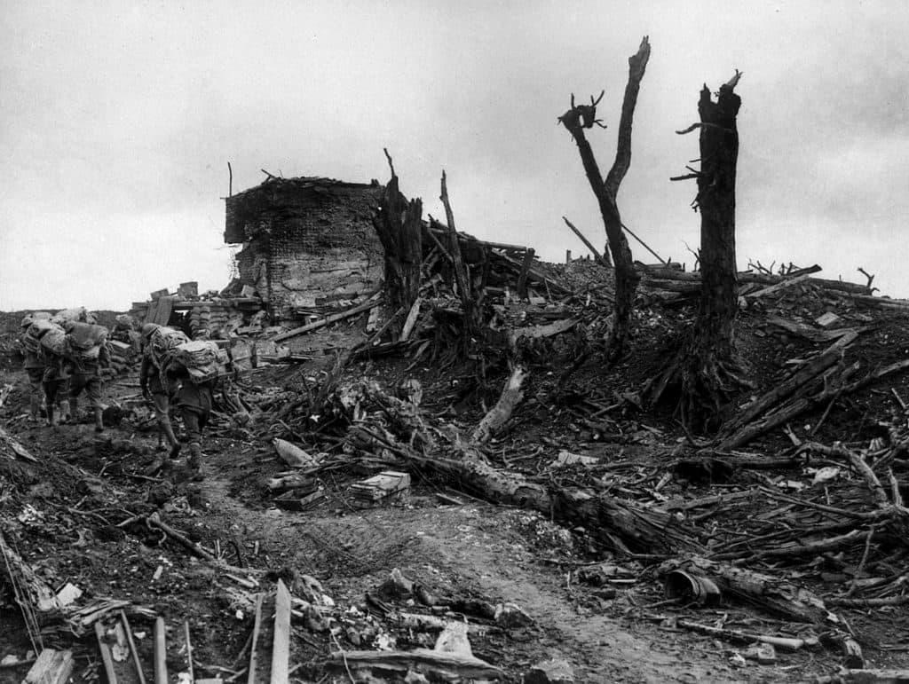WW1 battlefield with bunker