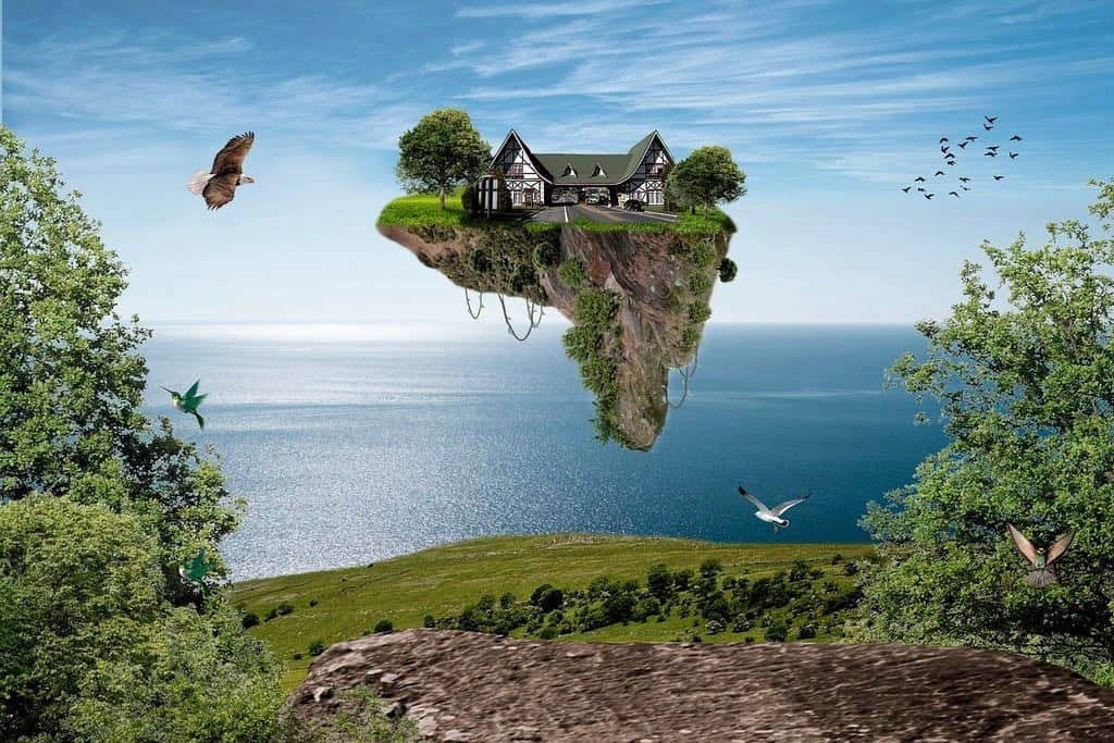 piece of land with house floating in the air