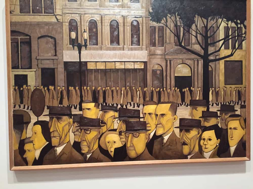 Painting by Australian artist John Brack - Going down under and coming back up