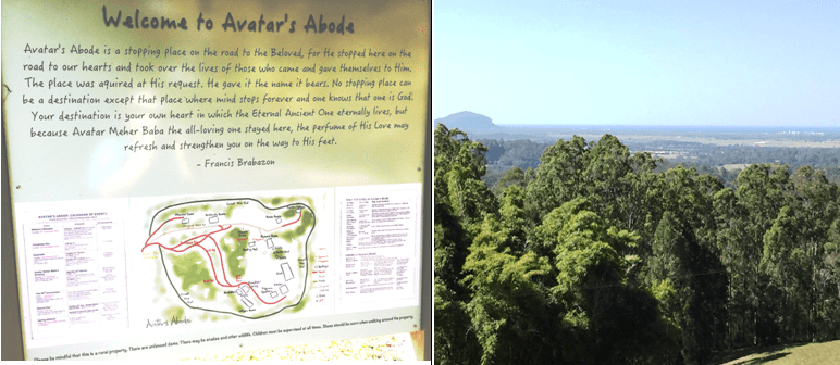 Photo composite including Welcome to Avatar's Abode sign and trees at the Abode - Going down under and coming back up