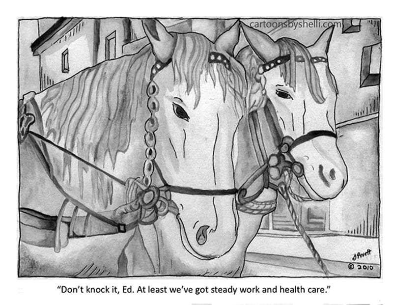 Cartoon of two horses thinking about value of steady work and health care - Horses with health care!