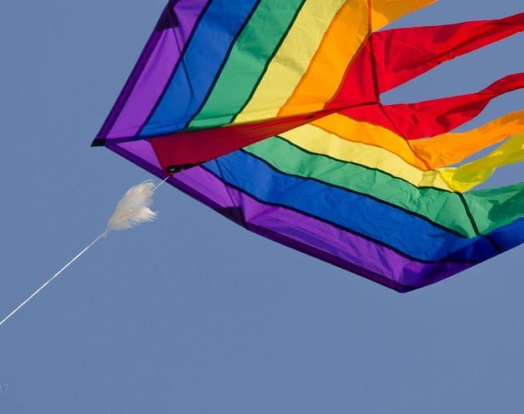 large rainbow coloured kite in the sky