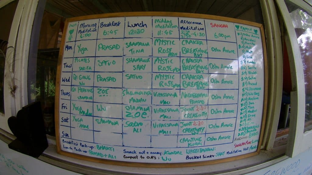 white board with schedule