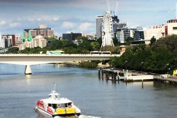 South bank of Brisbane River in Queensland, Australia - Going down under and coming back up