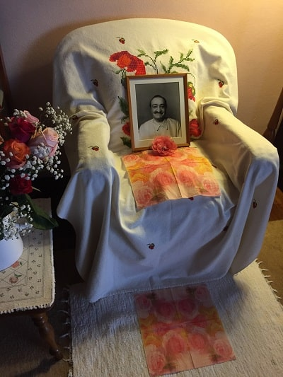 Meher Baba's chair at Avatar's Abode, with his photo on it - Going down under and coming back up