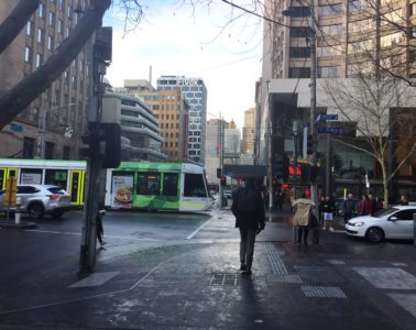Morning street scene in Melbourne, Australia - Going down under and coming back up