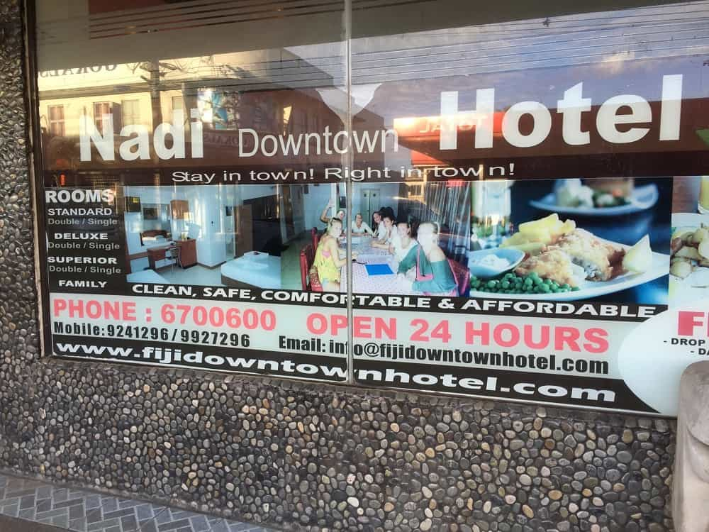 Front of Nadi Downtown hotel in Fiji - Going down under and coming back up