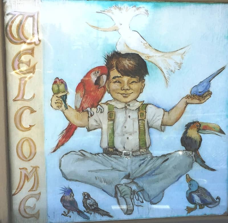 Welcome painting at front of The Meher School in California - Going down under and coming back up