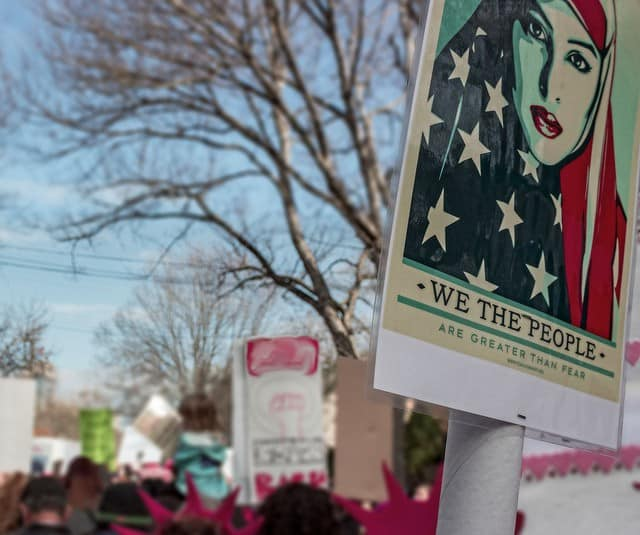 """Women's March with """"We the People"""" sign - After 9 months of Donald Trump"""