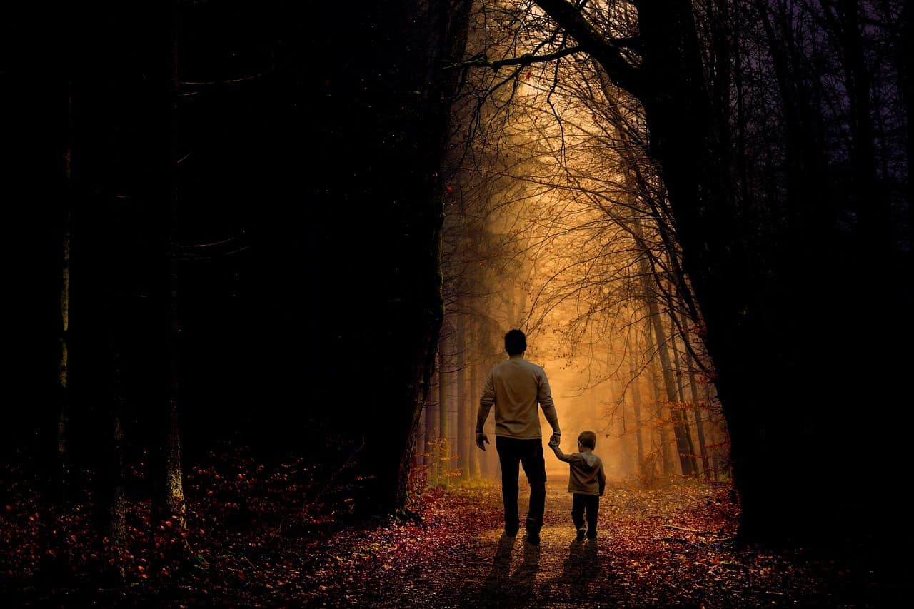Father and son walking hand in hand on path in woods - A is for autism