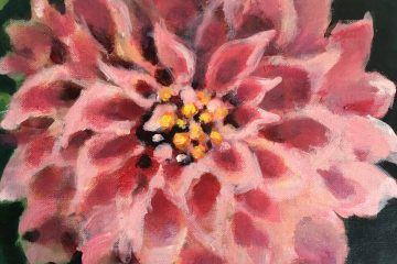 Pink dahlia painting - Art by Molly Cranch