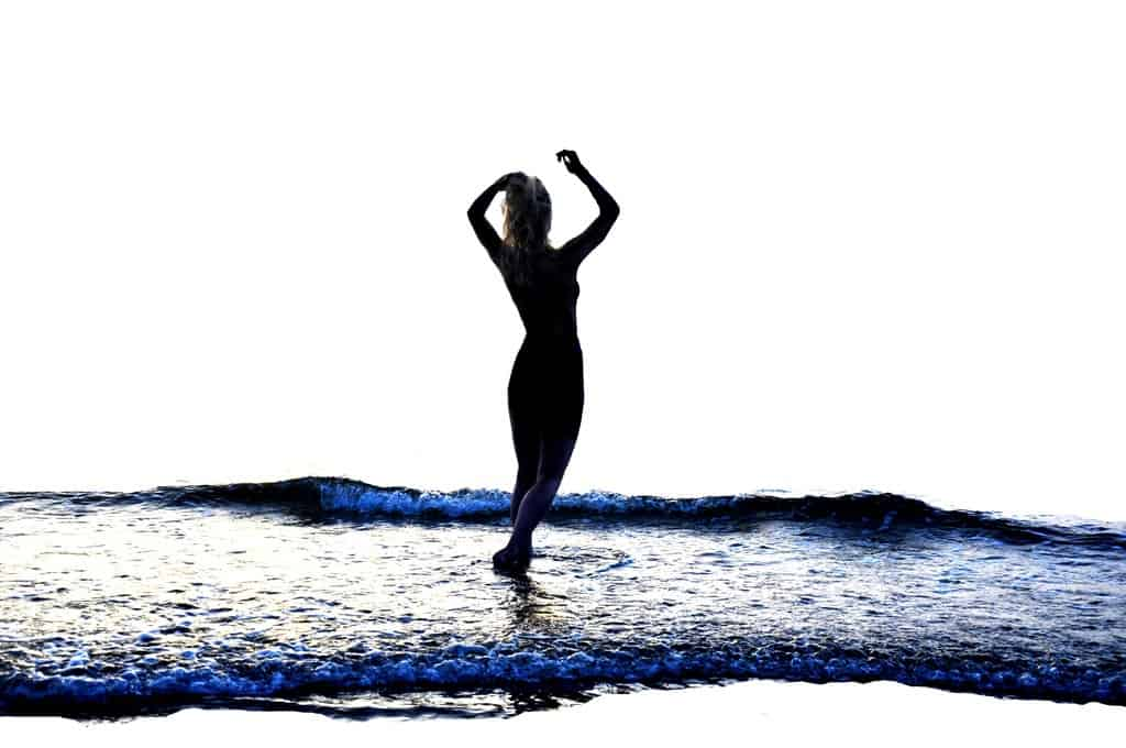 Nude female silhouette in water - Naked in the waters of equanimity