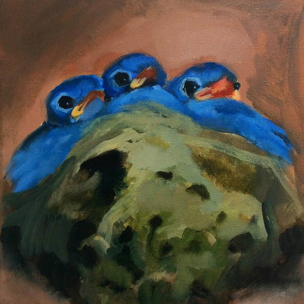 Baby birds in nest painting - Art by Molly Cranch