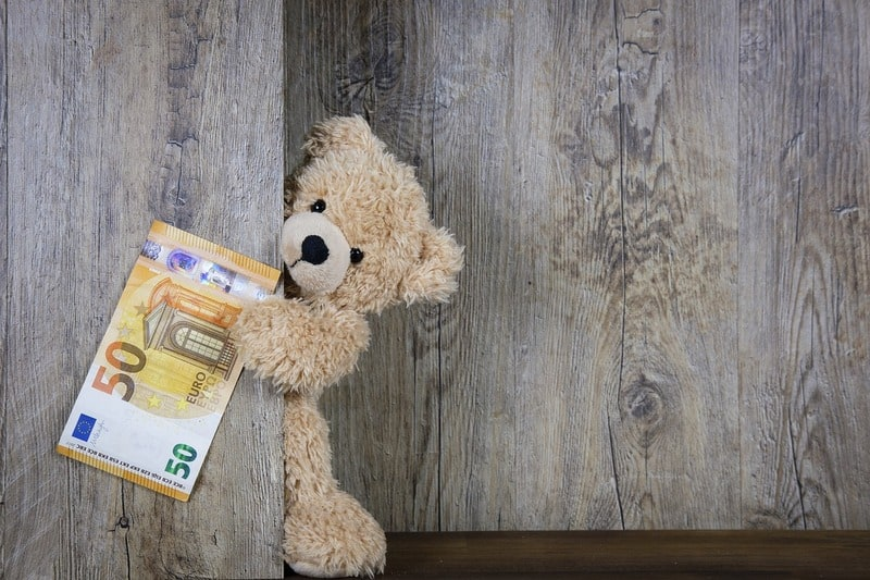 teddy bear holding a 50 euro note