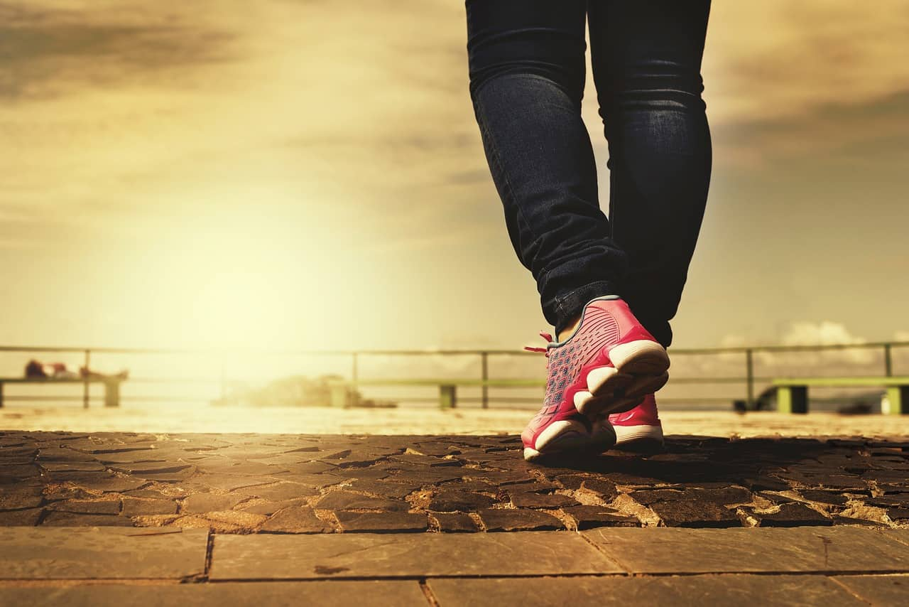 Woman's legs and feet in sneakers walking down a path - The path of the soul