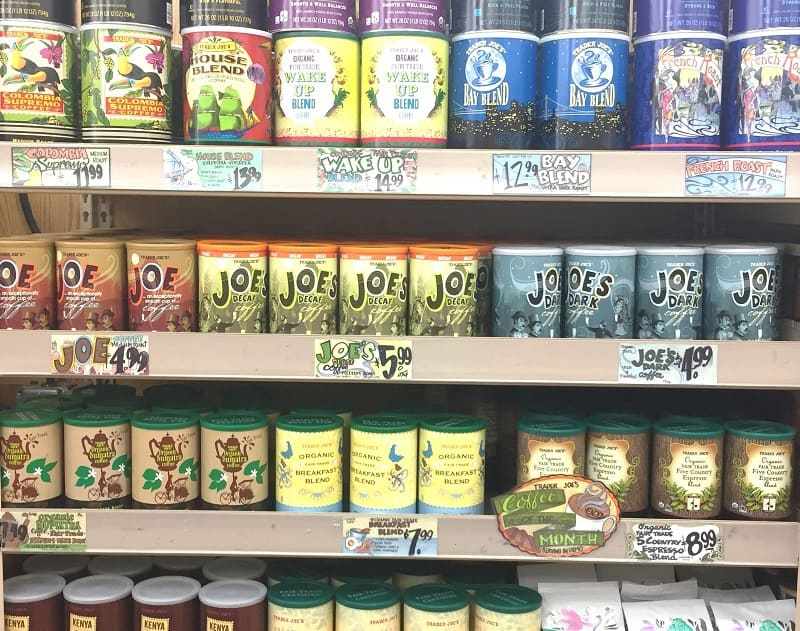 A display of several brands of coffee at Trader Joe's - kicking an addiction