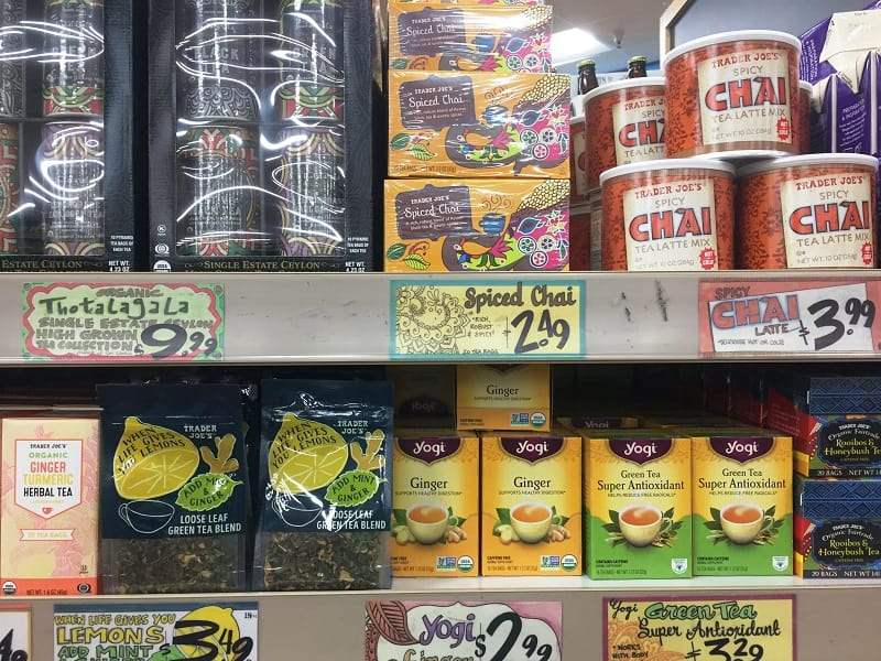 Display of several kinds of tea at Trader Joe's - Kicking an addiction