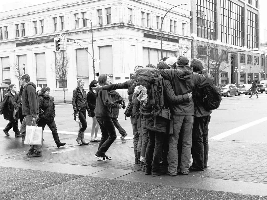 Group hug on a city street - The loving self