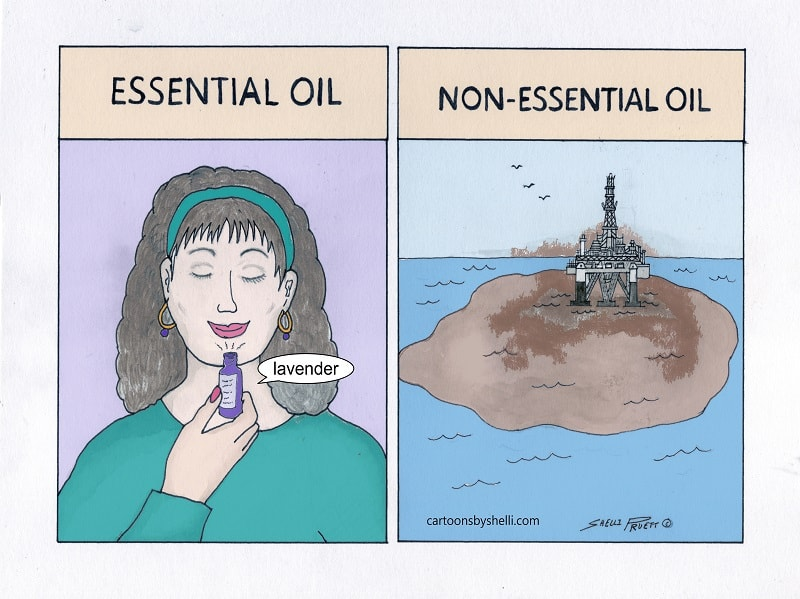 Cartoon comparing essential oils and oil factories - Essential vs. non-essential oil