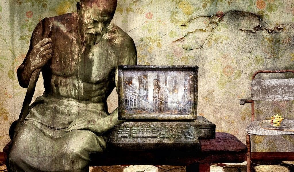 statue with computer