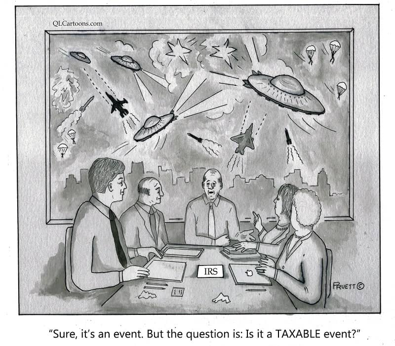 The IRS discussing whether alien spaceships landing on Earth is a taxable event - But is it a taxable event?