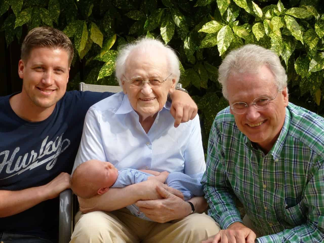 Three men and a baby representing four generations of a family - The perfect mother