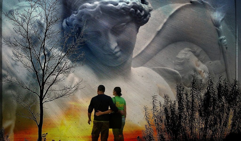 Couple outdoors with guardian angel above them - Try out your angel eyes