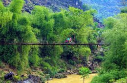 couple on motorbike on bridge in vietnam