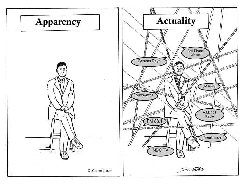 A cartoon of a man sitting in a chair next to a similar cartoon showing all the vibrations in the environment that may be affecting him - Apparency vs. actuality