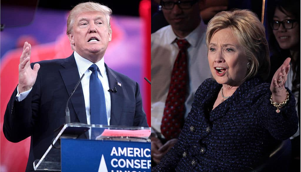 Split screen with Trump during presidential campaign on left and Clinton on right - A higher loyalty