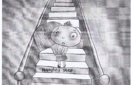 Little boy being carried up stairs labelled 'naughty step' by mother - There's no such thing as naughty