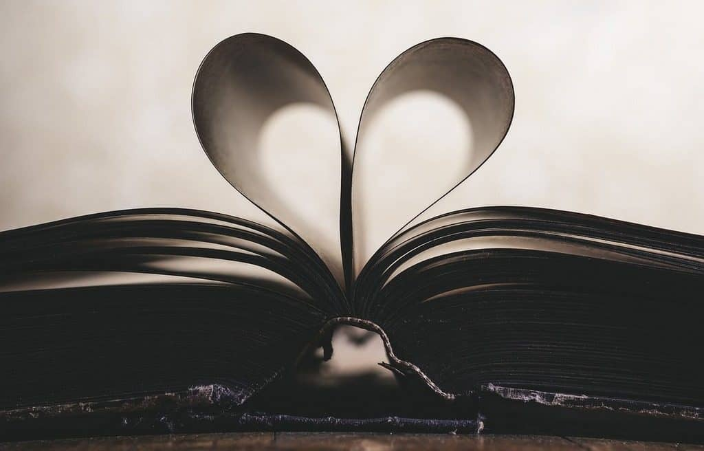 heart shaped from book pages