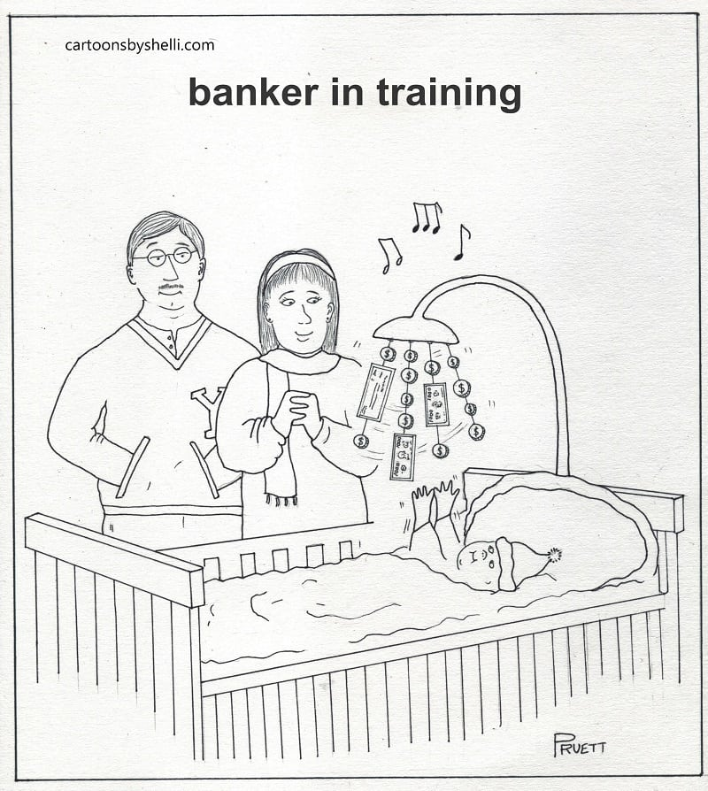 Baby with money mobile hanging over crib, while parents look on - Banker in training