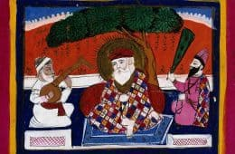 Illustration of Guru Nanak with musician and holy man - A course in self-mastery