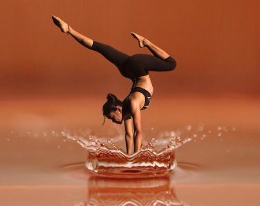 Woman performing Yoga-inspired dance while diving into water - Conscious dance